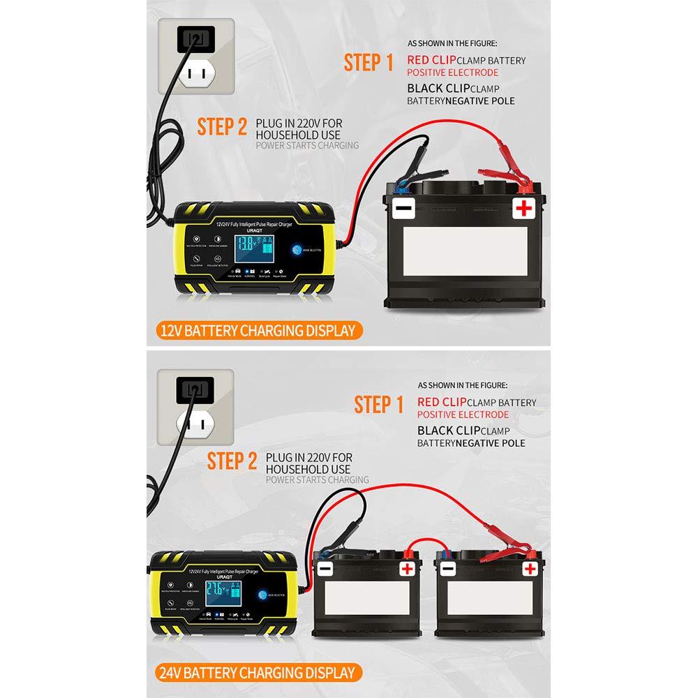 URAQT Caricabatteria Auto 12V//24V 8A Multi Protezioni Caricatore Intelligente Automatico 4 in 1 Ricarica Rapida Impermeabile e Indicatore di Avanzamento della Ricarica a Touch Screen LED