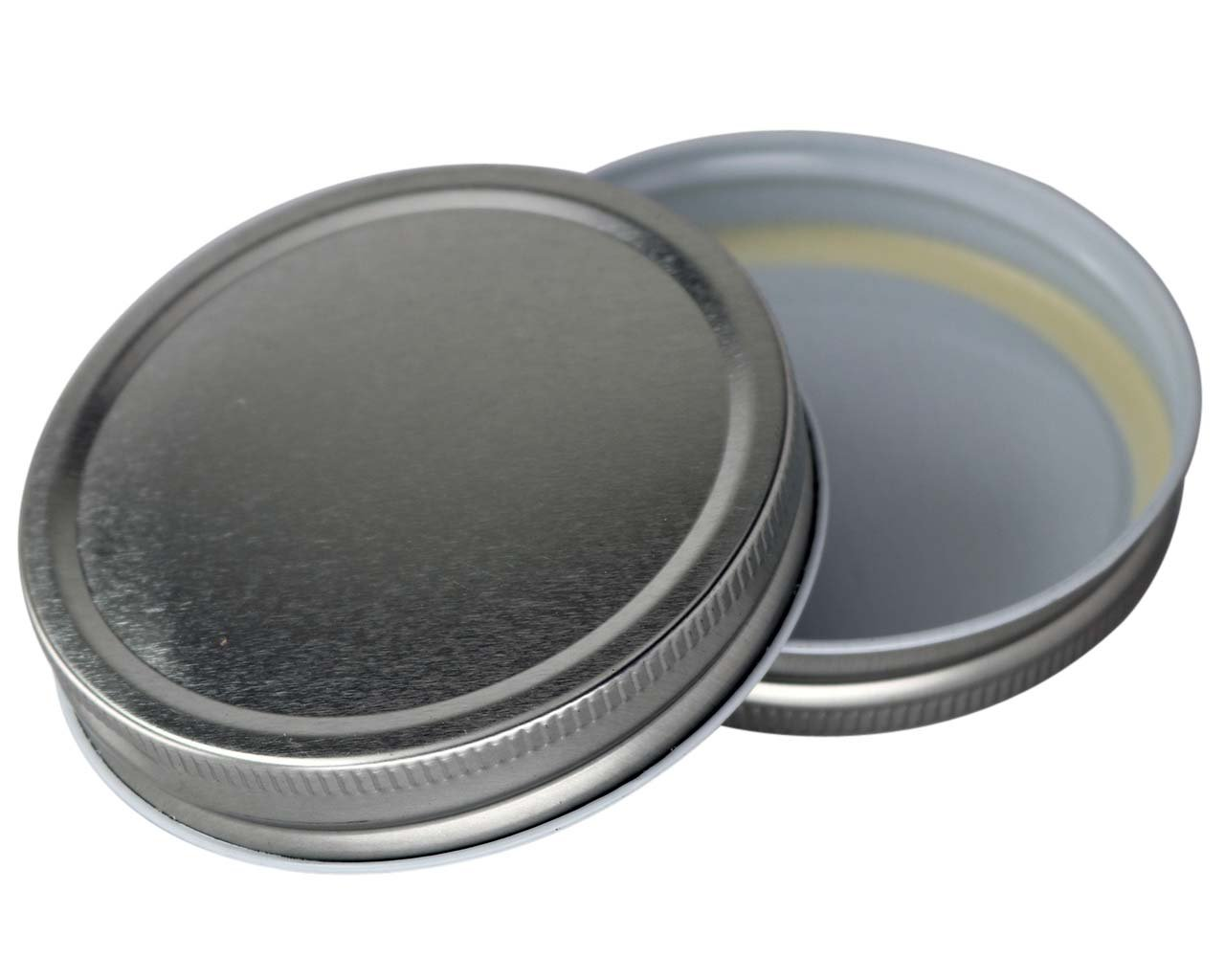 Shiny Metal One Piece Storage Lids Caps for Mason Jars (12 Pack, Wide Mouth)