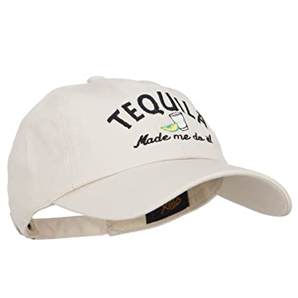 53bf01f1bb5 E4hats Tequila Made Me Do It Embroidered Unstructured Cap - Beige OSFM at  Amazon Men s Clothing store