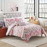 Vue 15482BEDDF/QMUL Masie Reversible Comforter Set, Full/Queen, Pink