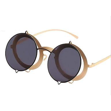 Amazon.com: Gafas de sol retro redondas doradas punk para ...