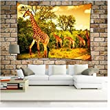 WCHUANG Forest Tapestry Wall Hanging Bohemian Art, Tree of life Bedding Bedspread Set for Bedroom, College Dorm Room Accessories or Home Decor, Boho Beach Blanket (giraffe, L)