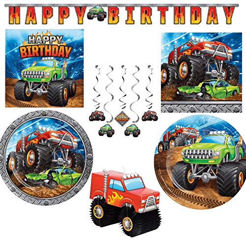 Monster Truck Themed Paper Party Supplies Serves 16: Dinner Plates + Cake Plates + Lunch Napkins + Beverage Napkins + Happy Birthday Banner + Centerpiece + Dizzy Danglers ()