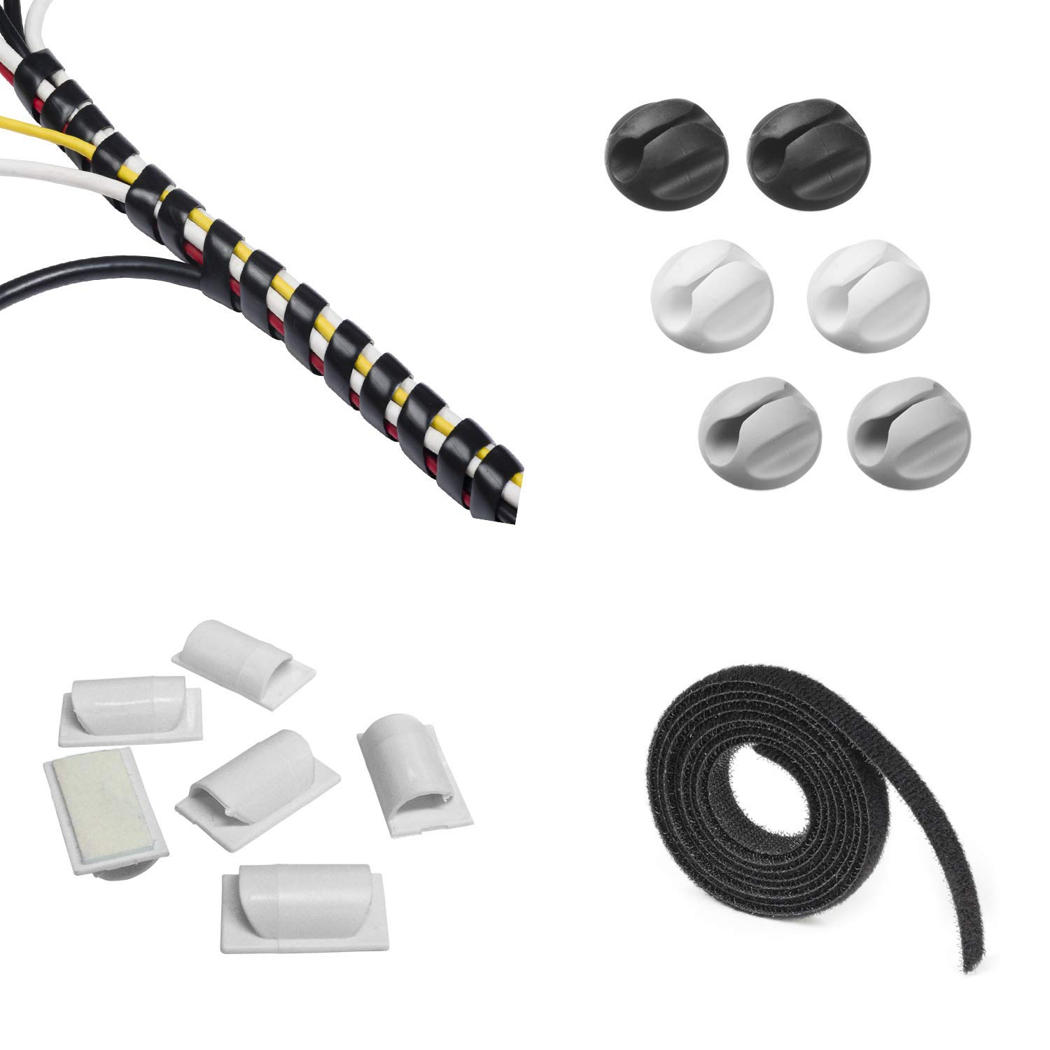 Cable Management Kit | Contains a Range of Popular D-Line Cable Management Solutions - Keep Cords Organized in the Home or Office - 4 x Solutions Supplied Per Pack