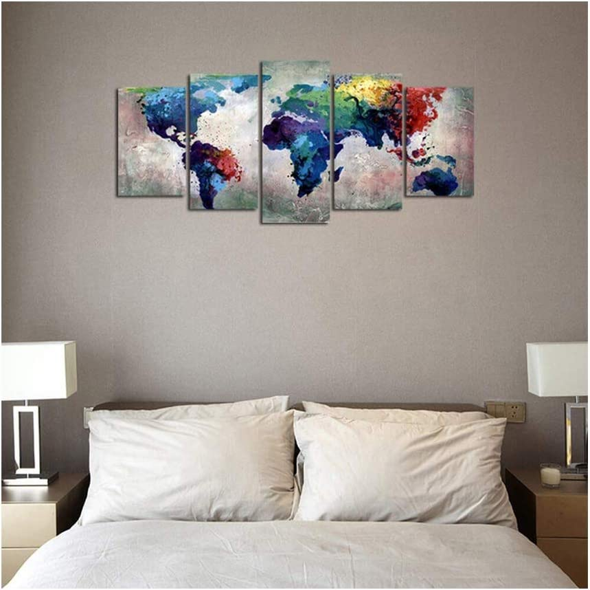ForeverandEver Abstract Watercolor World Map Canvas Painting Nordic Posters and Prints Wall Art Canvas Paintings for Living Room Wall Decor,20x35 20x45 20x55cm,No Frame