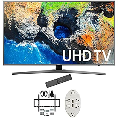 "Samsung 48.5"" 4K Ultra HD Smart LED TV 2017 Model (UN49MU7000) with Deco Mount Slim Flat Wall Mount Ultimate Bundle Kit for 32-60 inch TVs & Stanley Transformer Tap USB w/ 6-Outlet"