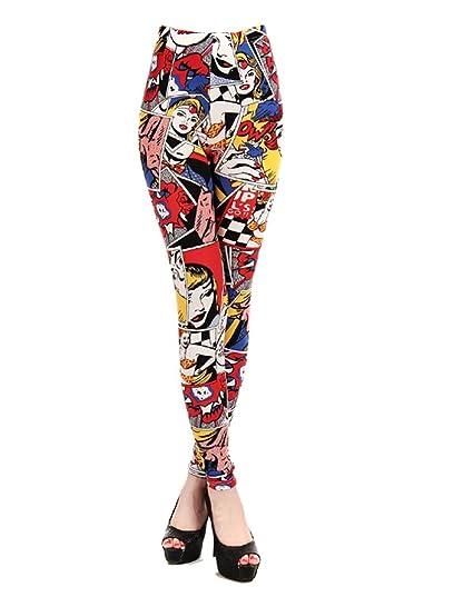 24650a93c2f27 Edtoy Women Comic Leggings Cartoon Printed Leggings high Stretch Girls  Leggingg Punk Rock Legging Disco Pants at Amazon Women's Clothing store: