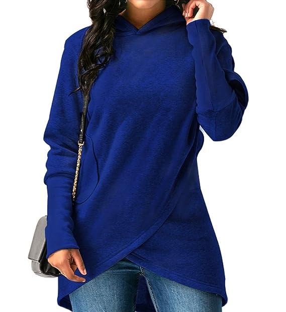 JLTPH Mujeres Sudaderas con Capucha Manga Larga Cuello Alto Casual Hoodies Sweatshirt con Bolsillo Tops Jersey Pullover Outwear: Amazon.es: Ropa y ...