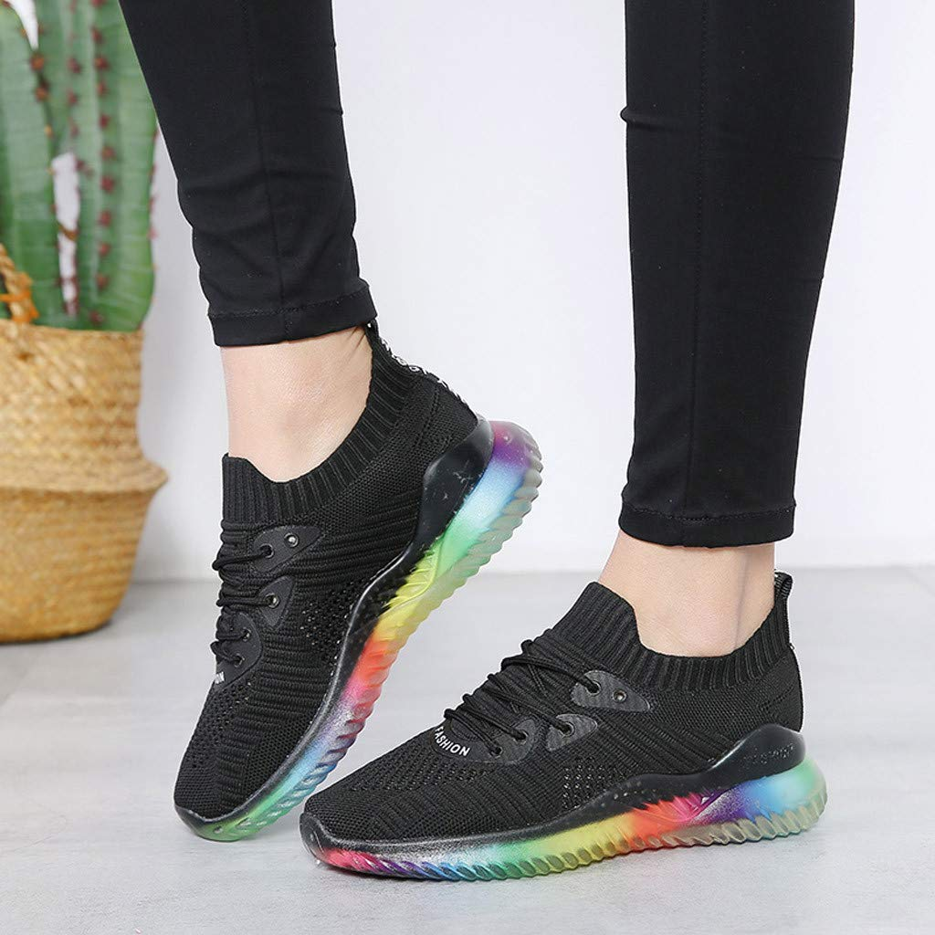 Women's Breathable Casual Sneakers Trend Woven Rainbow Jelly Soles Outdoor Sport Running Slip-on Shoes by Dacawin_Women Sport Shoes (Image #2)