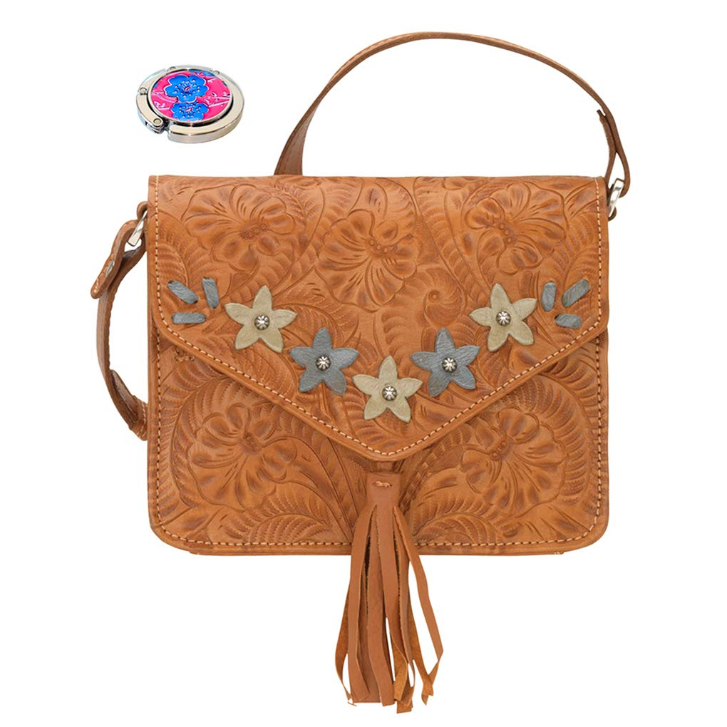 American West Leather - Small Cross Body Handbag - Purse Holder Bundle - (Tan - Flower Power Flap)