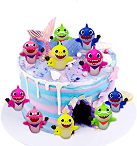 SIENON Shark Cake Toppers-10 Pcs Shark Birthday Cake Toppers with Bright Colors, Little Cute Shark Family Cake Decorations for Shark Theme Cake for Kids Birthday Party & Baby Shower & Shark Theme Party