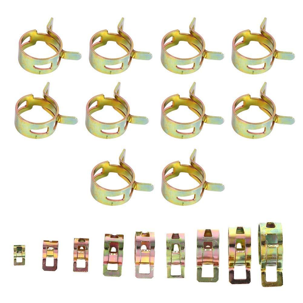 100 Pcs 10 Tailles Autos Huile Huile Tuyau Tuyau Tuyau Tube Pince Fixation Akozon Spring Clip