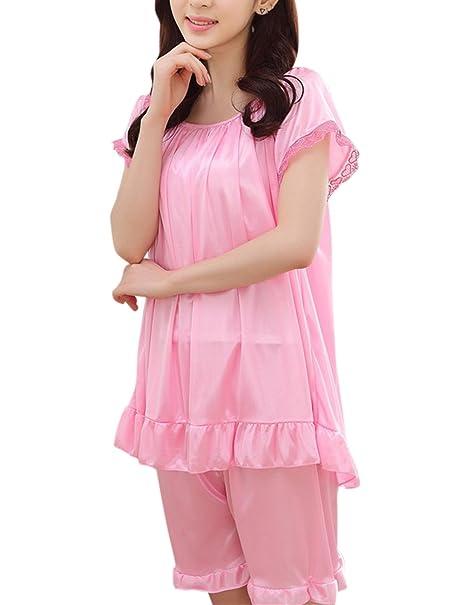 2 unids / set Pijamas de Seda de Hielo para las mujeres, pijama de verano