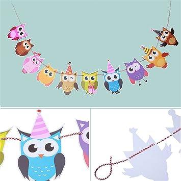 Hengsong Bunte Eule Geburtstag Party Dekoration DIY Banner Girlande ...
