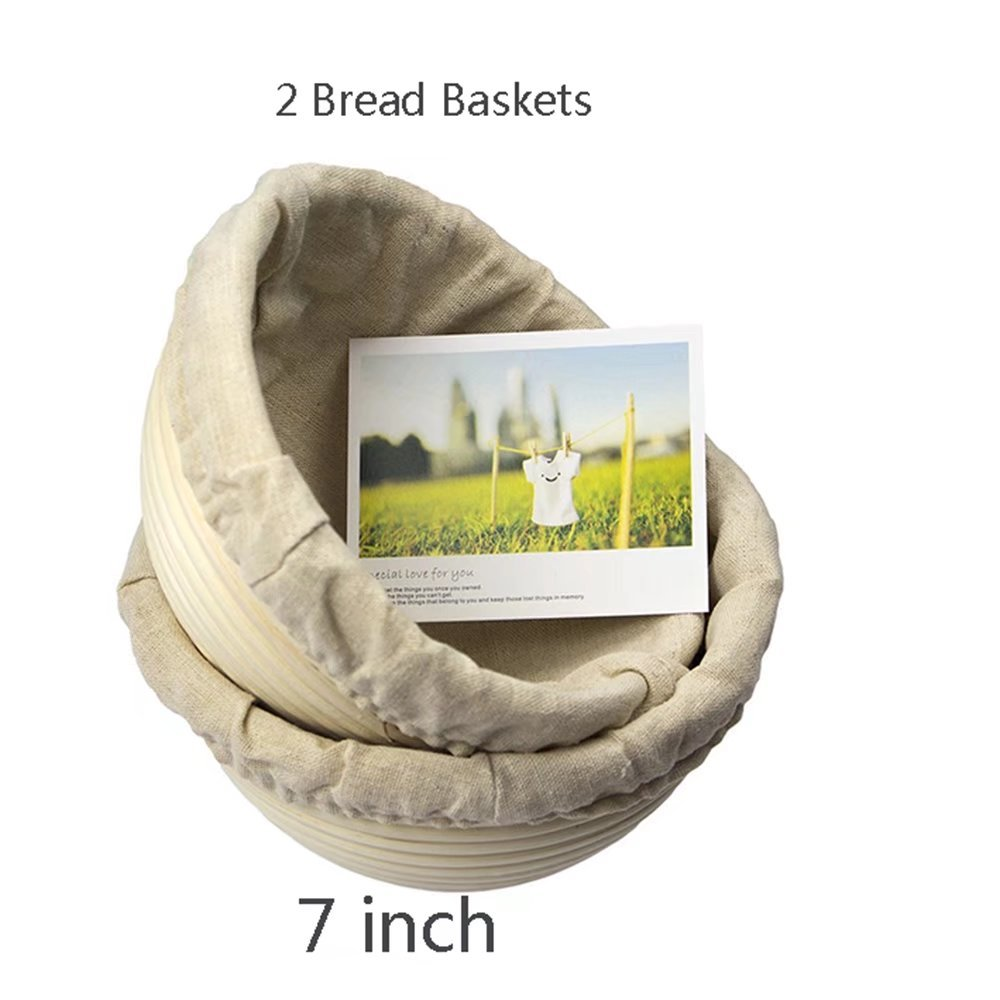 2 pack of 7 Inch Round Brotform Banneton Proofing Baskets Bread Bowl for Baking Dough with Rising Pattern (Bonus Linen Cover) BabyFoxy