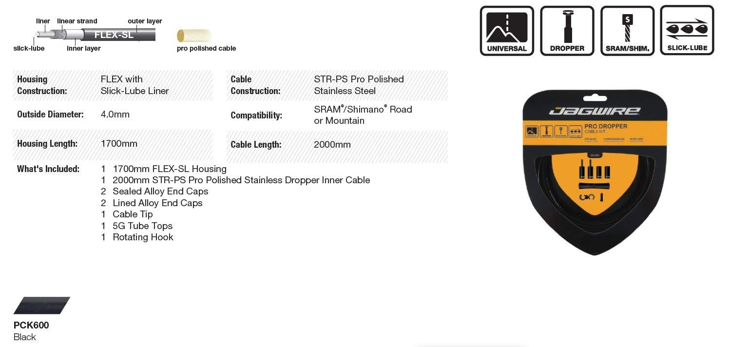 Jagwire Pro Dropper Post Cable Kit (Universal) Black by Jagwire