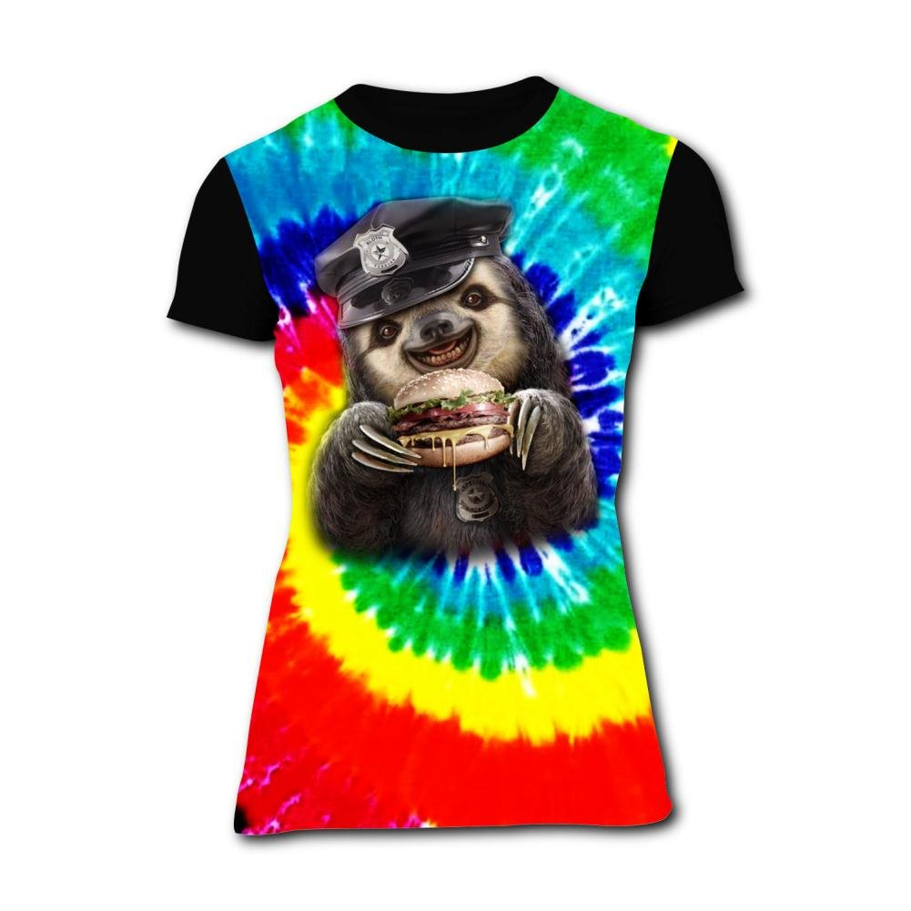 Womens Sloth Eat Burger Summer Casual Short Sleeve Tee Creative 3D Printed Graphic Hipster Design T Shirt