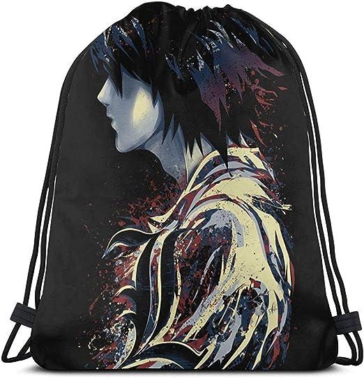 Humans are So Interesting Ryuk Death Note Design Drawstring Bag Sac Tissu Cordon Gym Backpack Sport