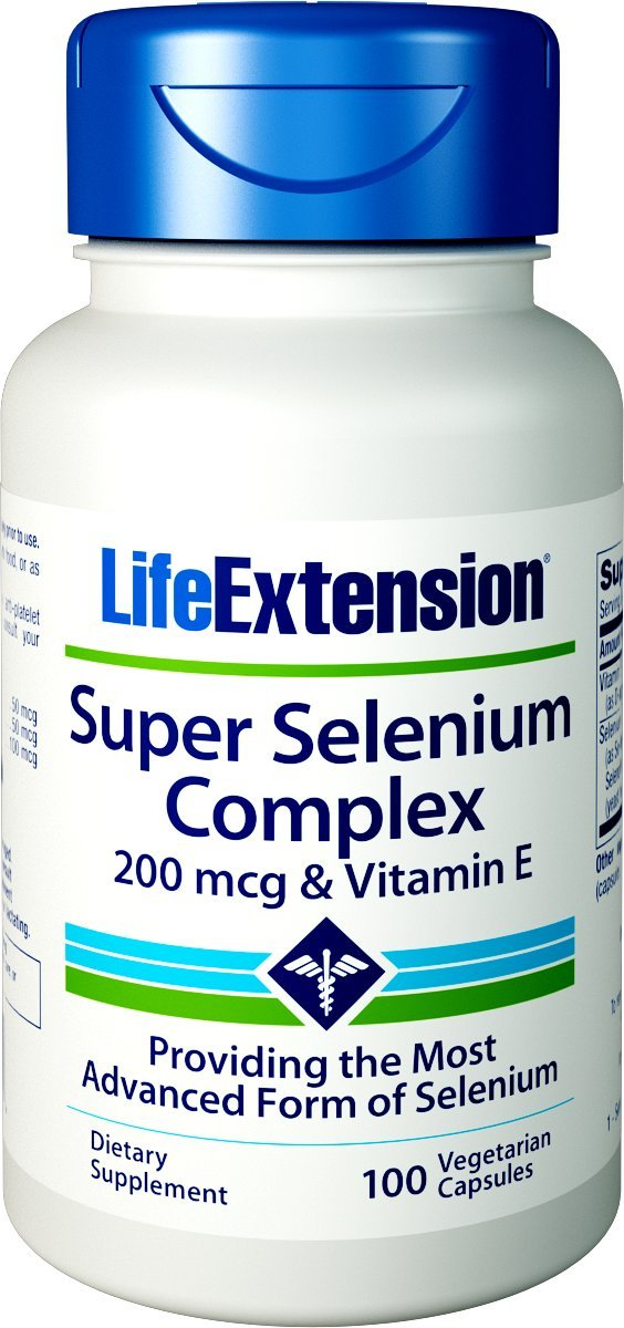 Life Extension Super Selenium Complex 200 mcg and Vitamin E, 100 Vegetarian Capsules