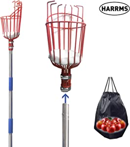 Harrms Fruit Picker Pole Tool, 8 FT Fruit Picker with Lightweight Aluminum Telescoping Pole, Fruit Picking Equipment for Getting Fruits