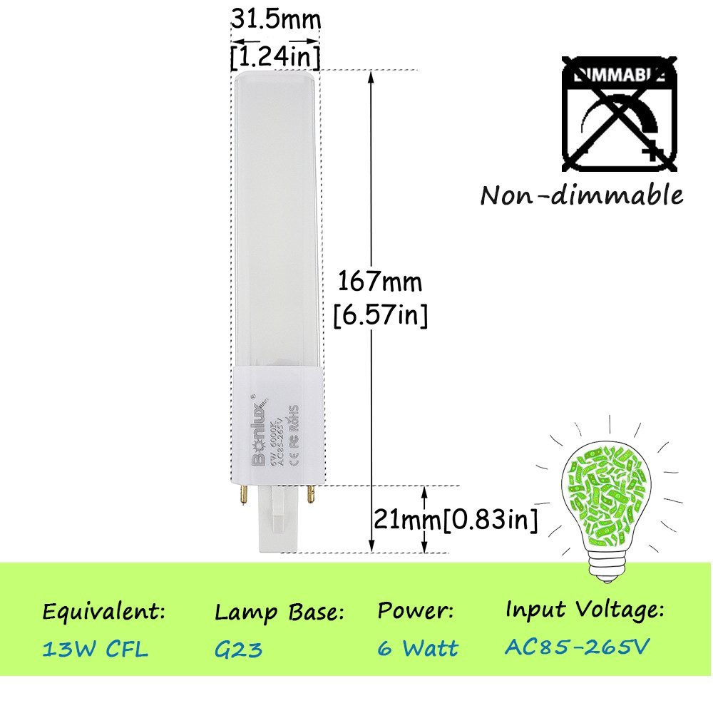 Bonlux 2-pack 6W G23 2-Pin LED PL-S Lamp Warm White 13W CFL ...
