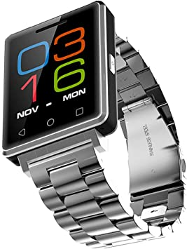 worldtopcoo reloj pulsera Bluetooth/deporte inteligente muñeca reloj/reloj inteligente/Pantalla Táctil Capacitiva/recordatorio de movimiento/reloj para Android IOS Smartphones? Correa de Metal plateado?: Amazon.es: Electrónica