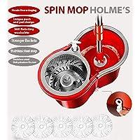 HOLME'S Easy Magic Floor Mop 360° Steel Bucket Mop with 5 Micro Fiber Head (Random Color)