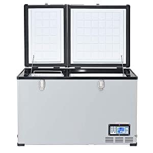 COSTWAY 105 Quart Car Travel Freezer, Portable 2-door Compressor Freezer -0.4°F to 50°F, Cooler Mini Fridge, Compact Vehicle Refrigerator for Car, RV, Yacht, Home, Camping and Truck Party(105 Quart)