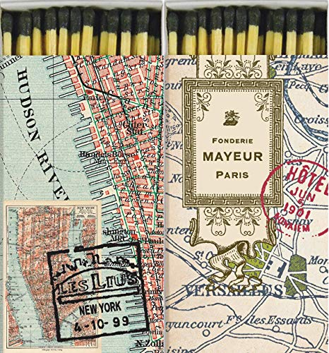 Match Boxes New York City and Paris Maps with Long Kitchen Matches Great for Lighting Candles, Grills, Fireplaces and More | Set of 2 Large Match Boxes]()