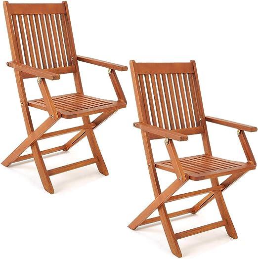 Deuba Set de 2 sillas Sydney Plegables de Madera de Acacia pre ...