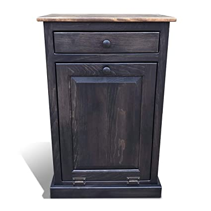 Peaceful Classics Amish Wooden Pull Out Trash Can Cabinet Handmade Solid Wood Hideaway Trash Holder Mocha