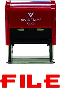 File Self-Inking Office Rubber Stamp (Red) - Medium