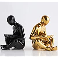 ZHFC Decorative Bookends,Heavy Duty Stainless Steel Man Bookends,Art Bookend,Desktop Books Organizer,for Home Office…