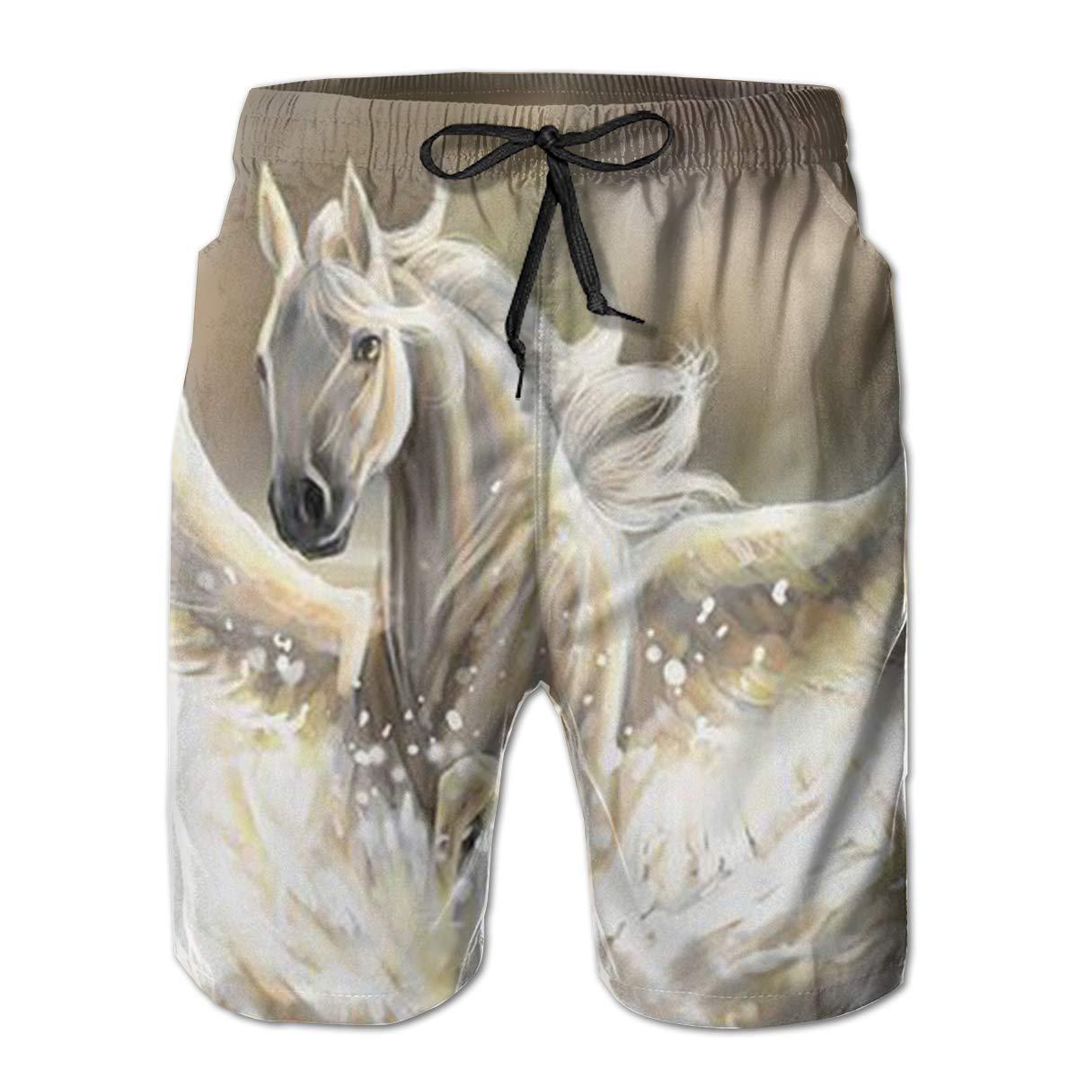 Wexzss Pegasus Funny Summer Quick-Drying Swim Trunks Beach Shorts Cargo Shorts