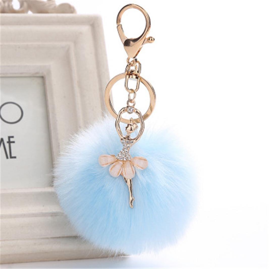 Lisin key chain,8CM Cute Dancing Angel Keychain Pendant Women Key Ring Holder Pompoms Key Chains (Sky Blue) by Lisin (Image #2)