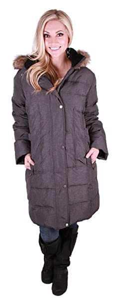 e1e51245a Utex Womens' Quilted Long Down Jacket with Faux Fur Trimmed Hood ...