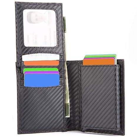 Cuero Tarjetero Titular Cartera Crédito,KOOGOO Billetera de Aluminio RFID Multifuncional Titular de La Tarjeta