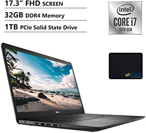 Dell 2020 Inspiron 17.3'' FHD Laptop, Intel i7-1065G7, 32GB DDR4 Memory, 1TB PCIe Solid State Drive, HDMI, WiFi, Webcam, DVD Drive, Black, KKE Mouse Pad, Win 10 Home
