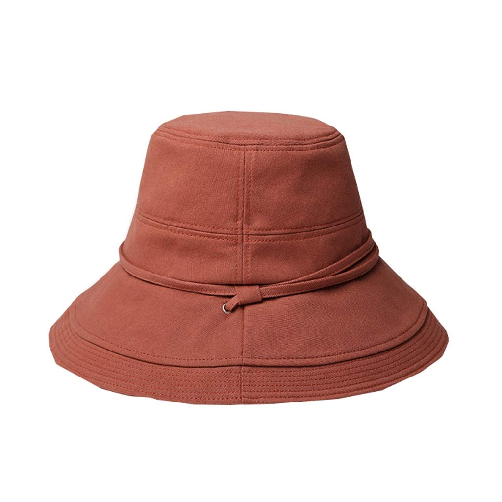 Brick red ZHANGHAIMING UPF + 50 Fisherman's Hat, Female Summer Eaves Cotton Sun Hat Wild Foldable Visor, color (Beige Black Brick Red) (color   Black)