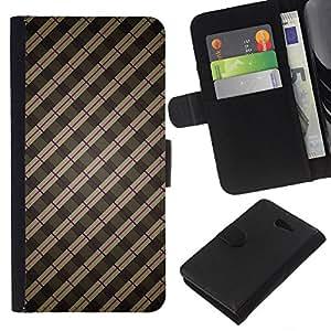 All Phone Most Case / Oferta Especial Cáscara Funda de cuero Monedero Cubierta de proteccion Caso / Wallet Case for Sony Xperia M2 // Stripes Wallpaper Grey Brown Red Random