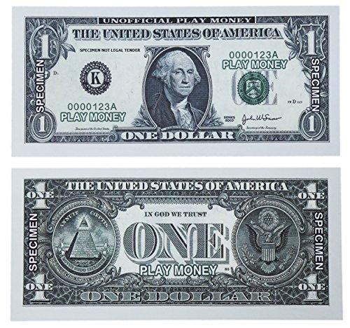 paper playing money 1 one dollar bills pretend play