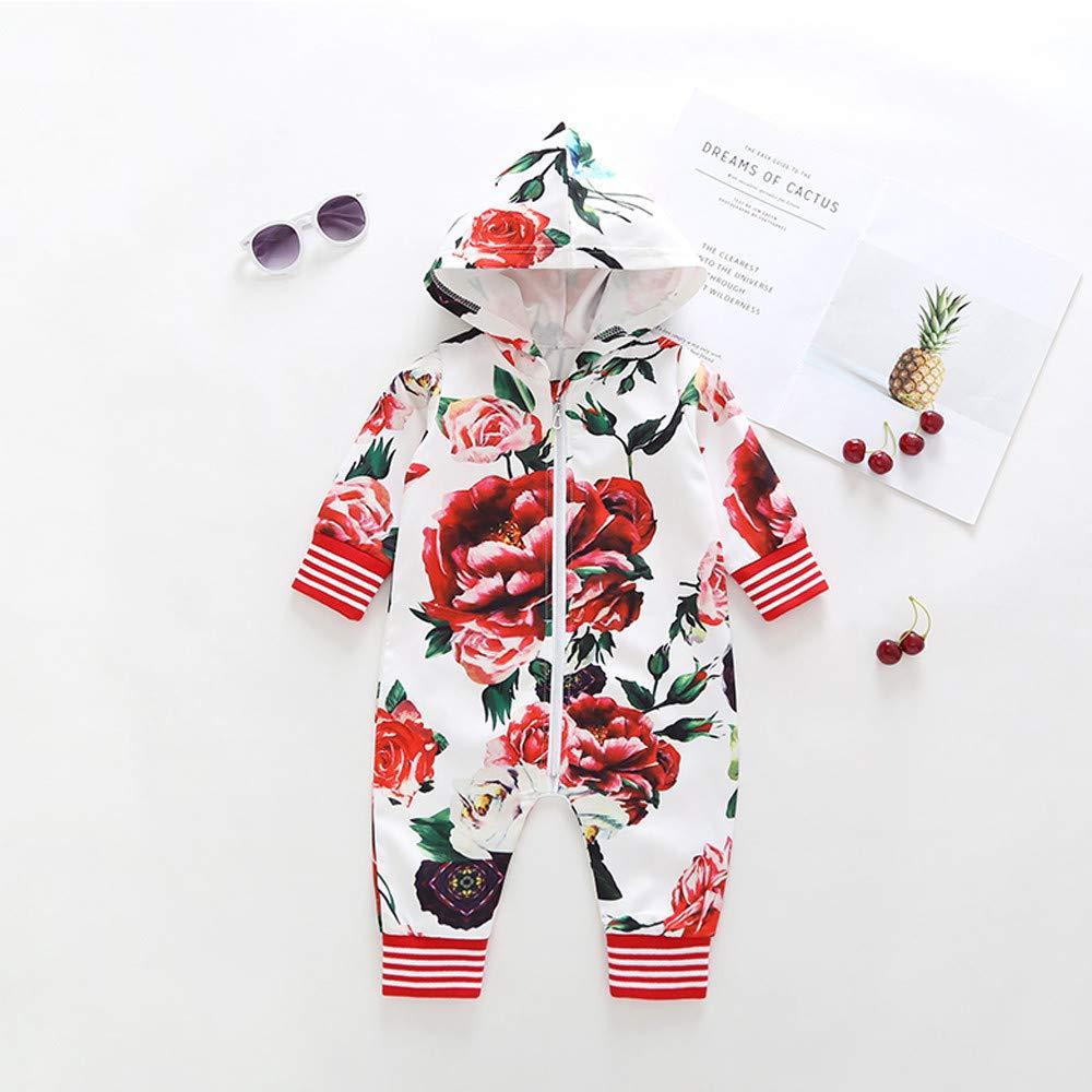 Iuhan  Toddler Boys Girls Hoodies Pajamas Long Sleeve Flower Ball Zip Romper Jumpsuit