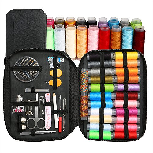 BetyBedy Sewing Kit with 95 Sewing Accessories, Mini Sewing Kits for Beginners, Travelers, Emergency, Family to Mend and Repair, 24 Color Spools of Thread with Mending Supplies and Zipper Bag