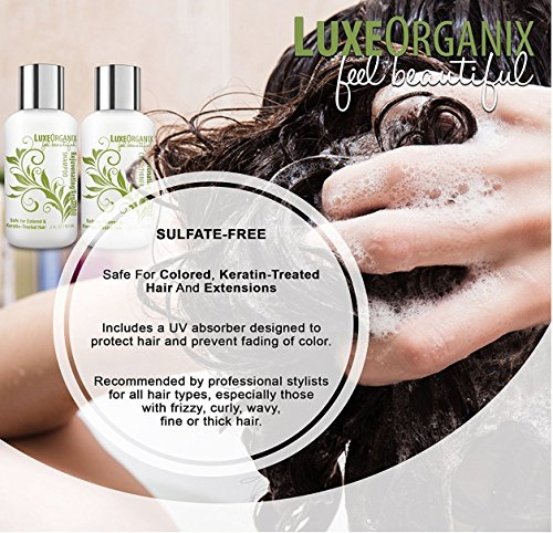 LuxeOrganix Travel Shampoo and Conditioner Set, Sulfate Free, Safe for Color Treated, Keratin Treated Hair - Moroccan Argan Oil (2.0 oz each) by LuxeOrganix (Image #5)