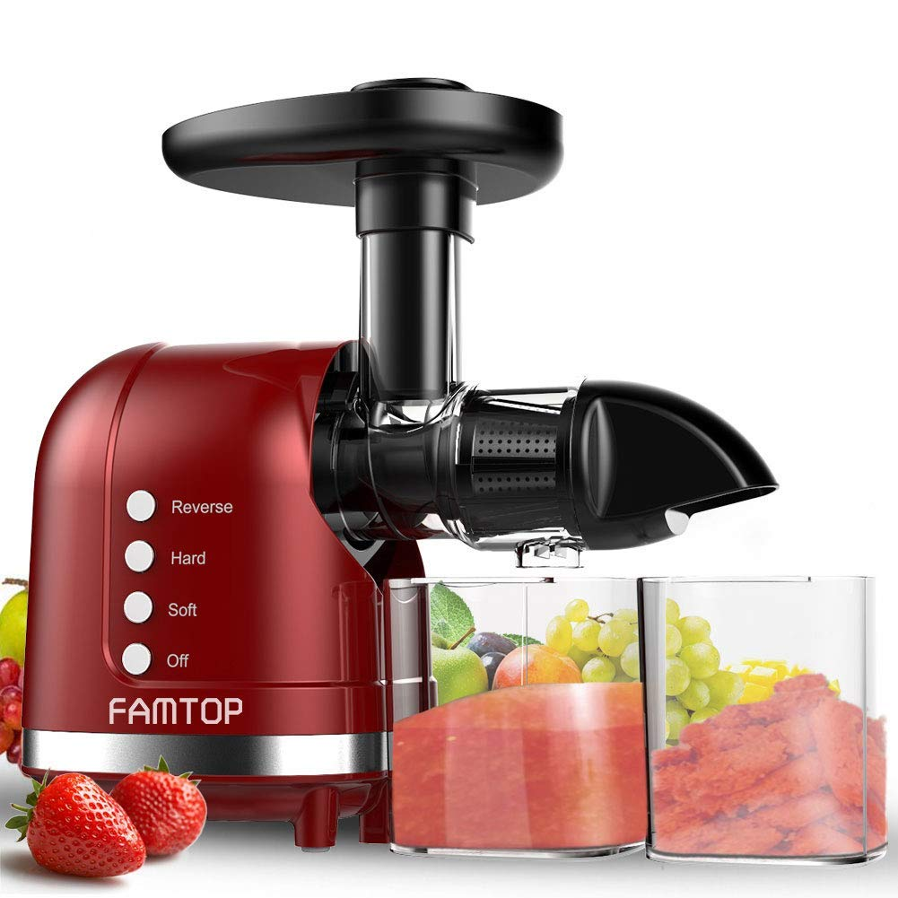FAMTOP Slow Masticating Juicer Extractor with Reverse Function Quiet Motor Cold Press Machine Higher Yield from Fruit and Vegetable Easy to Clean, Red by FAMTOP