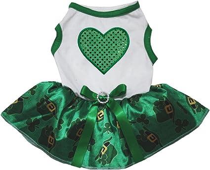 Petitebella Green Sequins Clover Puppy Dog Shirt