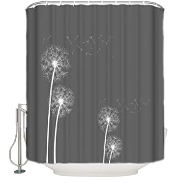 Shower Curtains Waterproof Polyester Fabric for Bathroom Decor Sets with Hooks, Mildew Resistant & Antibacterial, Odorless, 60x72 inches - Thistle Dandelion with Grey Background
