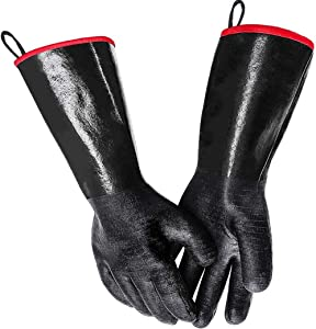 BBQ Grill Gloves 14 Inches, 932℉, Cooking Gloves Food Safe No BPA, Heat Resistant-Smoker, for Handling Heat Food Right on Your Fryer, Grill, Oven, Waterproof, Fireproof, Oil Resistant Neoprene Coating