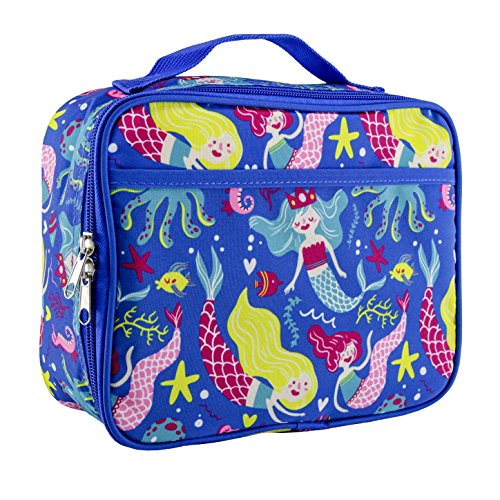 LONE CONE Kids' Insulated Fabric Lunchbox in Fun Patterns, Fish + Chips (Mermaids) Rectangle Lunch Box