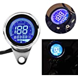 H-come Universal Motorcycle Odometer LCD Digital Speedometer Tachometer Gauges with Night Light Fit for Most Popular 12V…